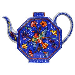 Hermès Fine Porcelain Marquetry Stones East and West Teapot and Cup Set, 1989