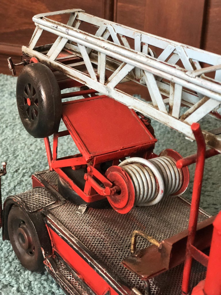 20th Century French Metal Model of a Red Toy Fire Truck For Sale 3
