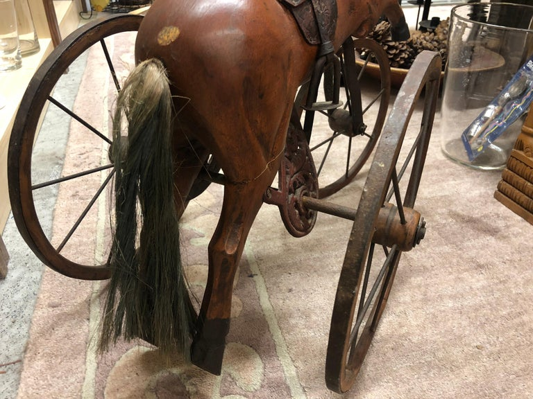 Authentic Tripod Children's Wooden Rocking Horse 19th Century For Sale 2