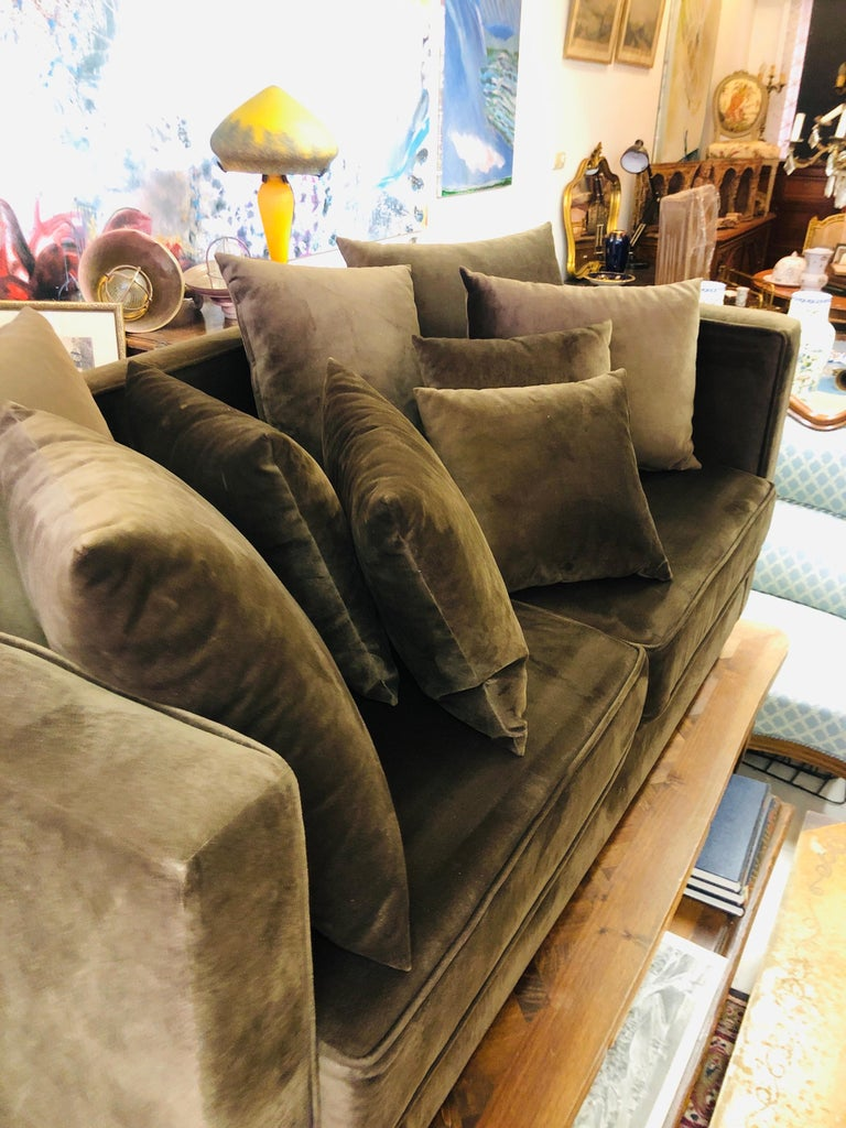 20th Century French Chocolate Brown Two-Seated Velvet Sofa with Set of Cushions For Sale 1