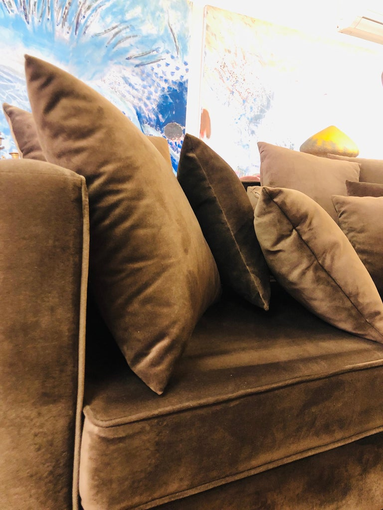 20th Century French Chocolate Brown Two-Seated Velvet Sofa with Set of Cushions In Good Condition For Sale In , CH