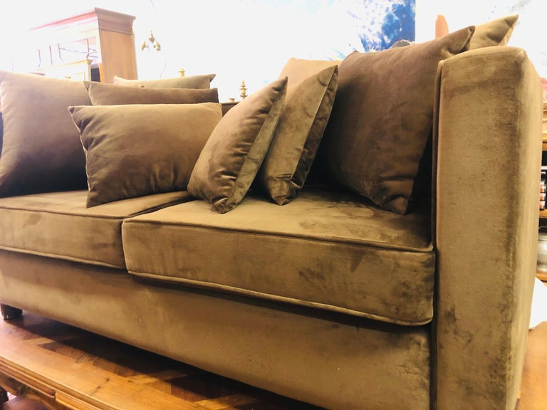 20th Century French Chocolate Brown Two-Seated Velvet Sofa with Set of Cushions For Sale 4