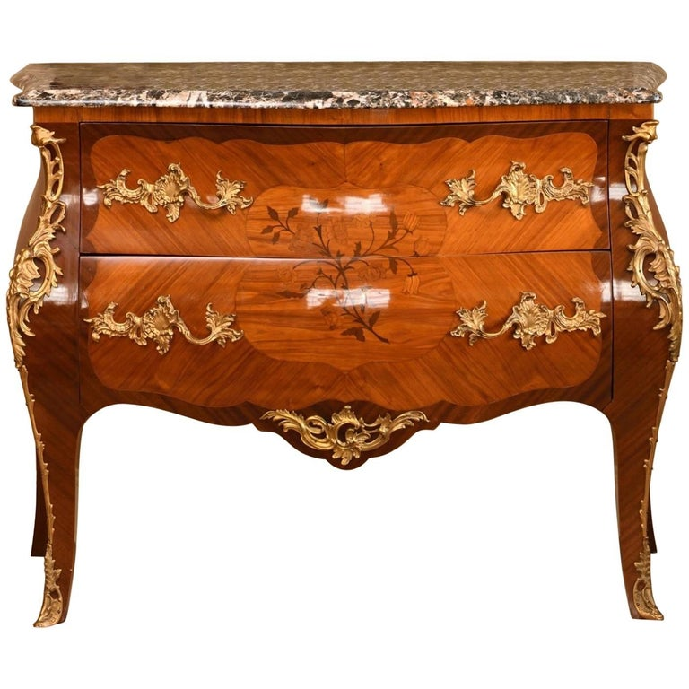 Magnificent 19th Century Marble-Top Bombe Commode from France For Sale