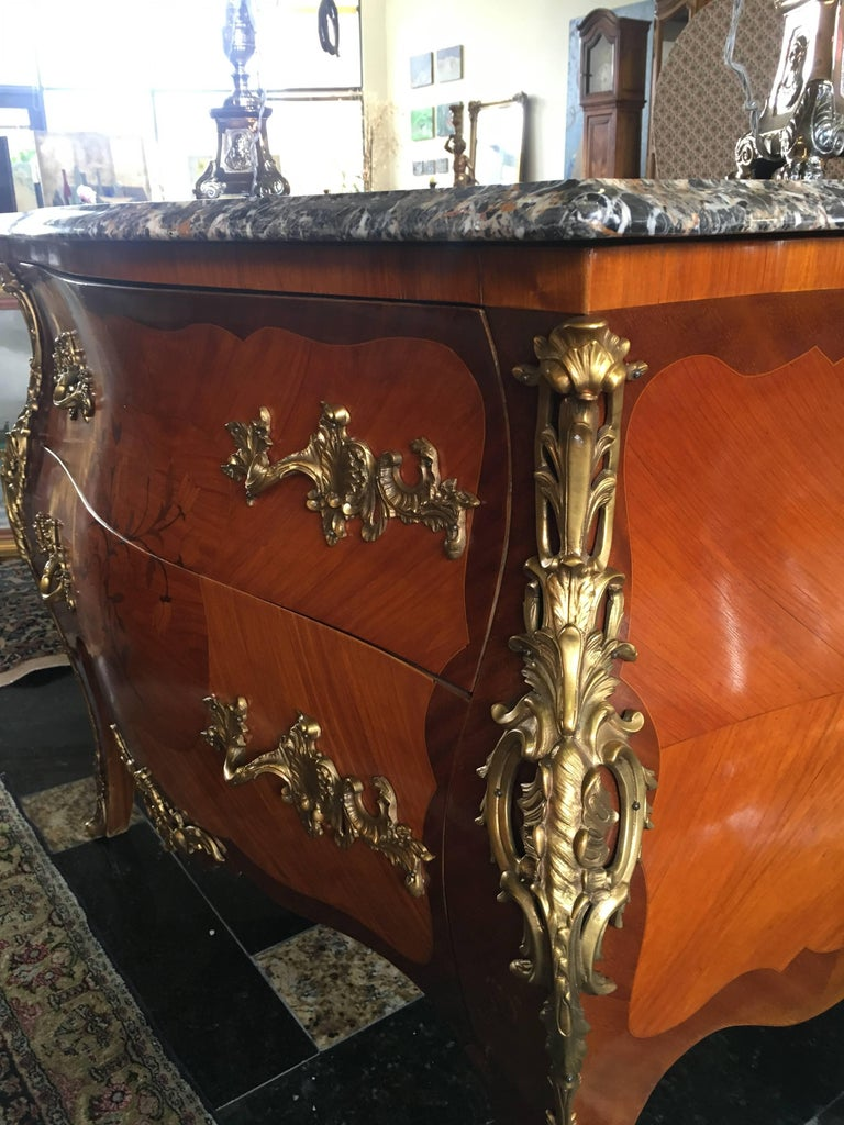 Louis XV Magnificent 19th Century Marble-Top Bombe Commode from France For Sale