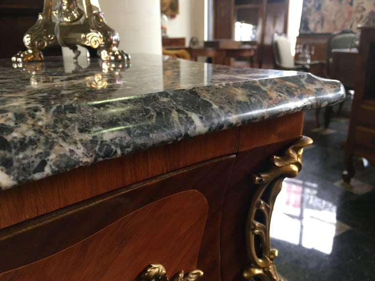 Magnificent 19th Century Marble-Top Bombe Commode from France For Sale 1
