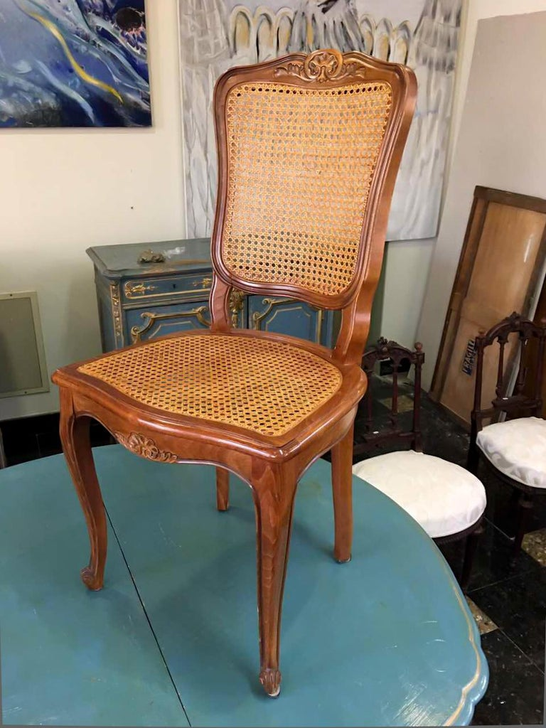 Cane Pair of French Carved Walnut Chairs in Style of Louis XV For Sale