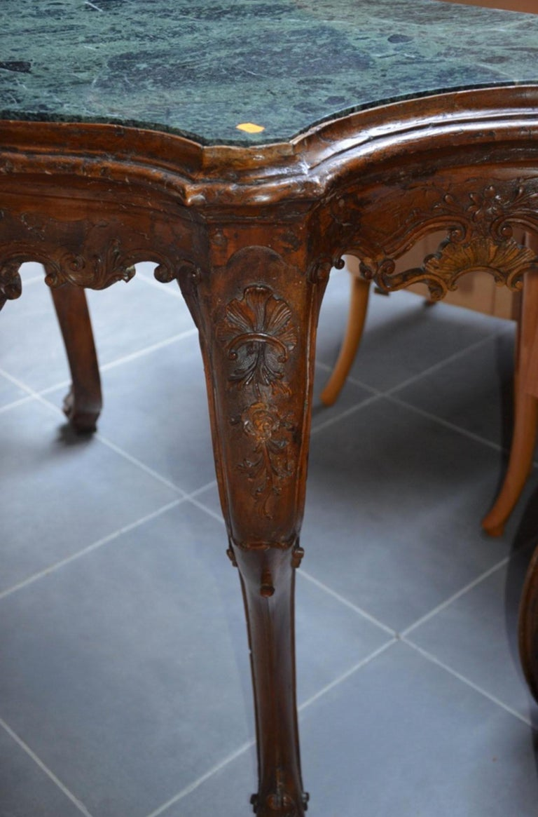 19th Century French Hand-Carved Marble-Top Console Louis XV Period For Sale 1