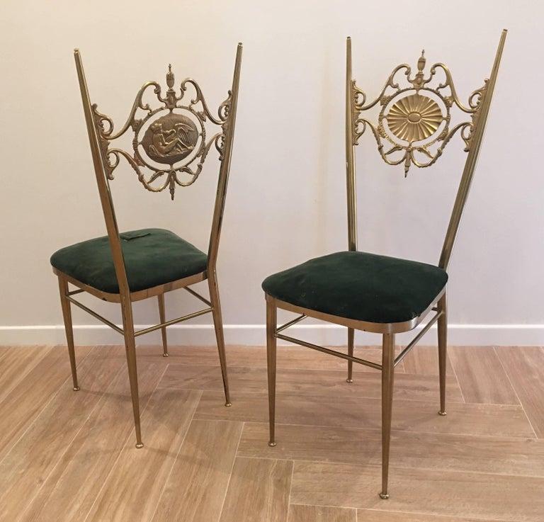 Italian Chiavari Neoclassical Chairs in Brass, circa 1950 In Good Condition For Sale In London, GB
