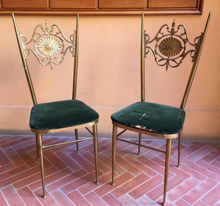 Italian Chiavari Neoclassical Chairs in Brass, circa 1950 For Sale 1