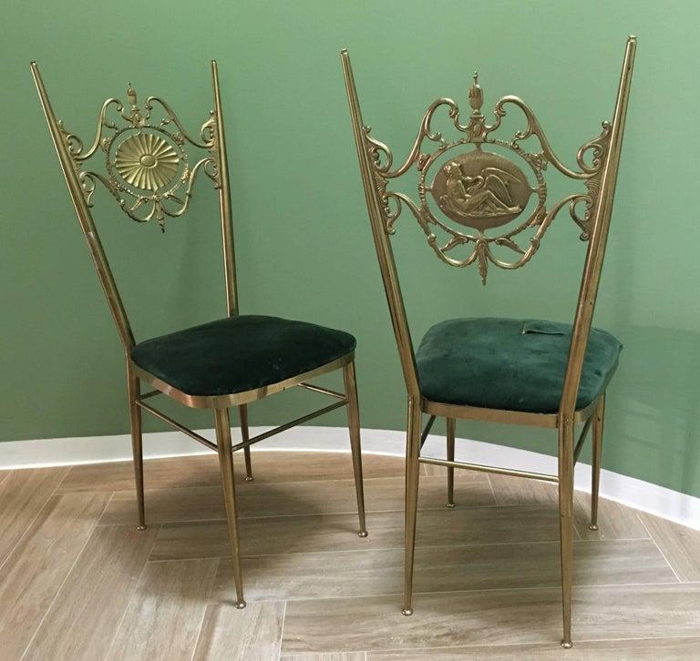 Italian Chiavari Neoclassical Chairs in Brass, circa 1950 For Sale 3