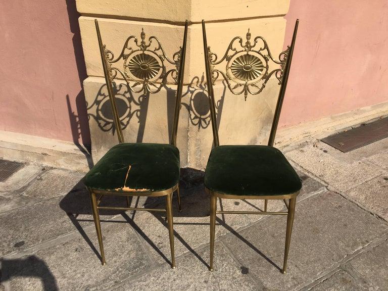 Italian Chiavari Neoclassical Chairs in Brass, circa 1950 For Sale 4