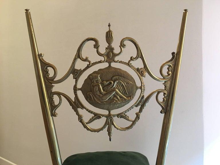 Italian Chiavari Neoclassical Chairs in Brass, circa 1950 For Sale 6
