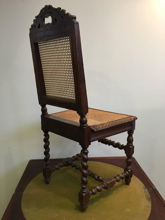 Louis Philippe Set of Four 19th Century French Carved Dining Chairs For Sale