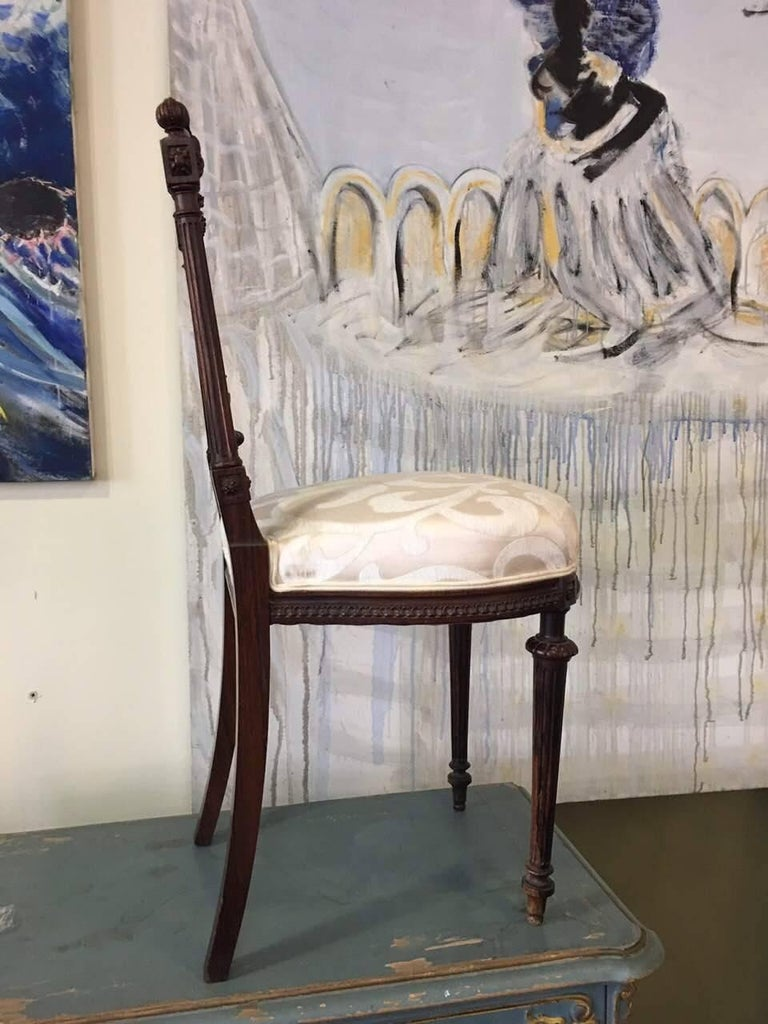 Victorian Pair of Petite 19th Century French Carved Walnut Side Chairs For Sale