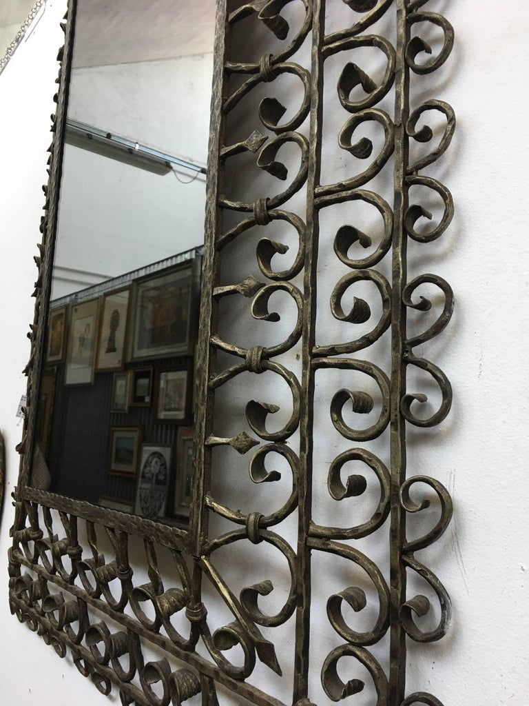 Italian wrought iron wall smoked mirror for sale at 1stdibs for Wrought iron mirror