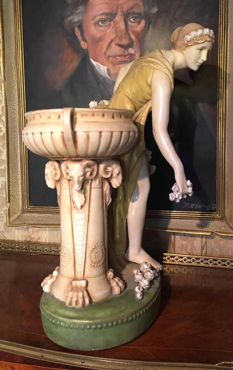 Austrian Imperial Amphora Austria Ceramic Woman Figure For Sale