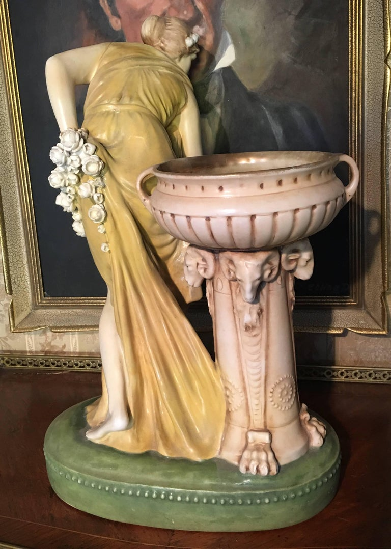 Imperial Amphora Austria Ceramic Woman Figure In Excellent Condition For Sale In London, GB
