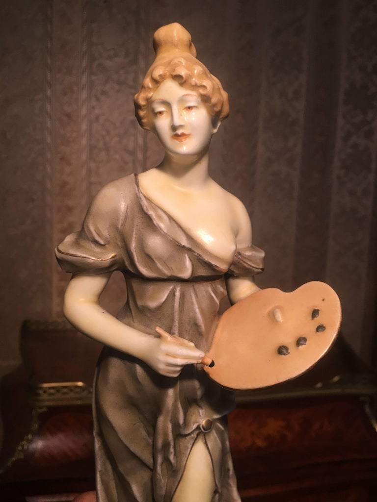 19th Century Royal Vienna Artist and Sculptor Ceramic Women For Sale