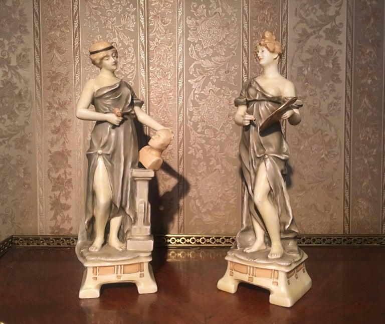 Royal Vienna artist and sculptor ceramic women from the end of 19th century.  The Viennese Porcelain Manufactory (German: Kaiserlich privilegierte Porcellain Fabrique) was a porcelain manufacturer in Alsergrund in Vienna, Austria. It was founded in