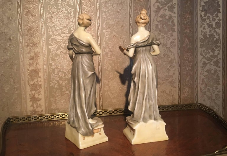 Classical Roman Royal Vienna Artist and Sculptor Ceramic Women For Sale