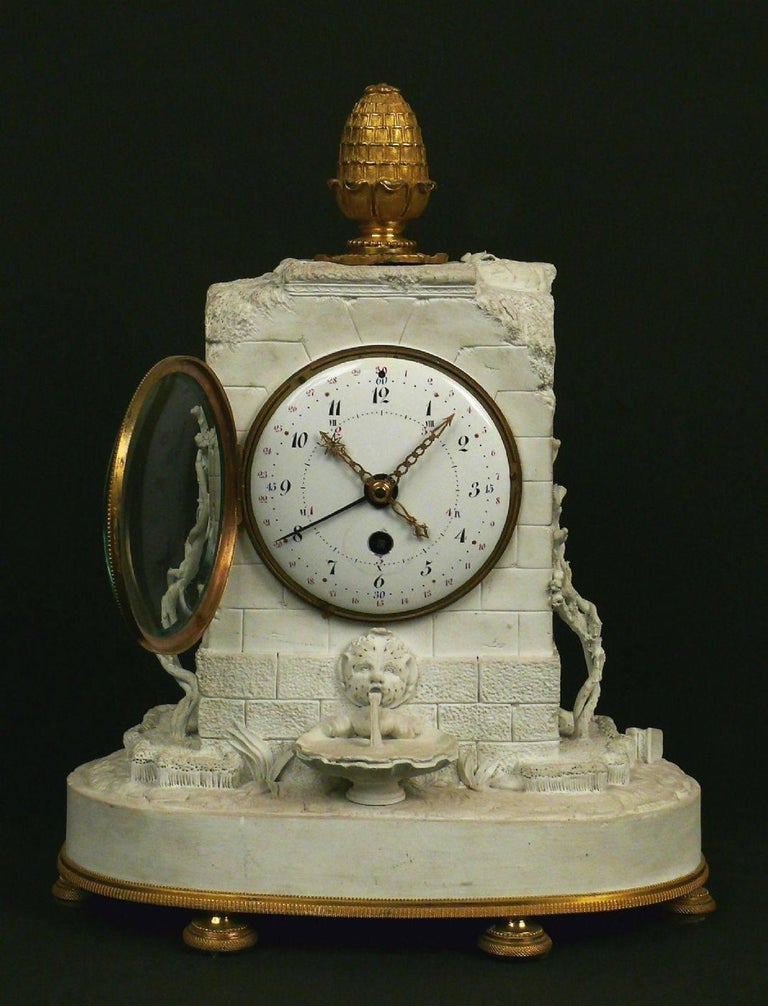 French Romantic Clock Sevres Bisque Porcelain, France, 1793 For Sale