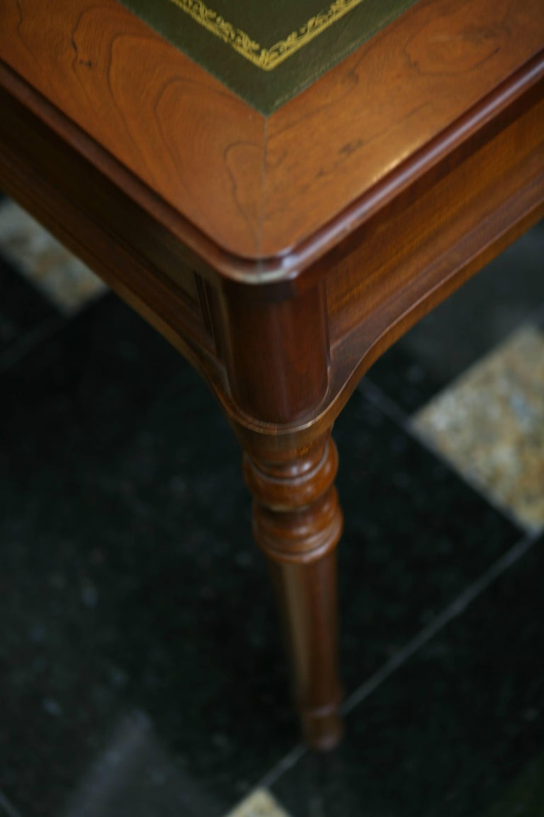 Antique French Writing Table With Green Leather Top Circa