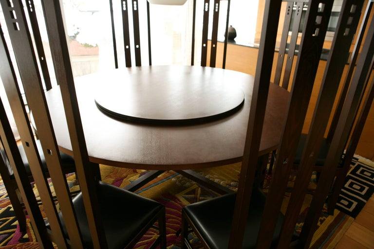 Art Nouveau Style Set of Dining Table and High Back Chairs by Macintosh In Excellent Condition For Sale In London, GB
