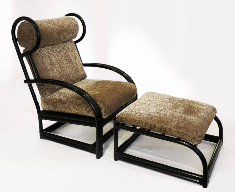 Black Cane Armchair And Stool Attributed To Mcguire 1960