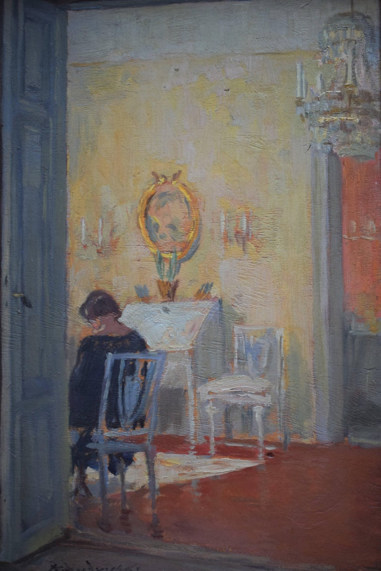 Interior scene depicting a woman in her living room. Oil on plywood. Dimensions: D x W x H / 1.5 in x 16 in x 22.4 in / 3.75 cm x 41 cm x 57 cm.
