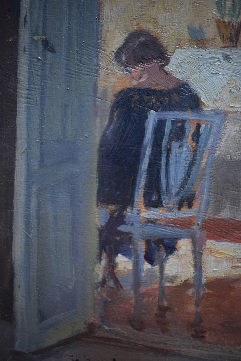 Other Interior Scene of Woman in Her Living Room, Early 20th Century For Sale