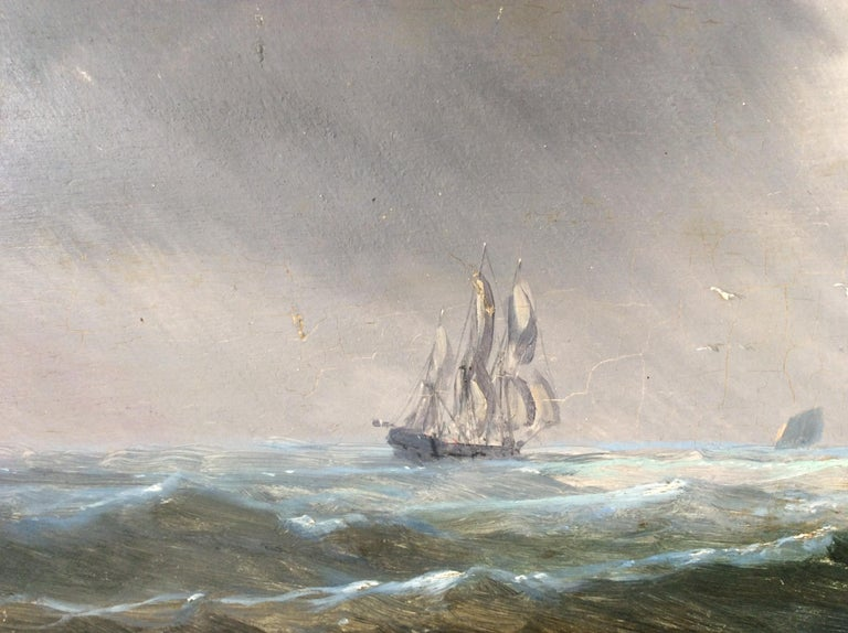 Danish Painting Marine style of Carl Frederik Sørensen For Sale