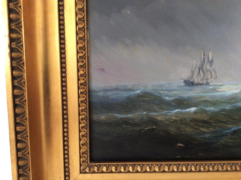Hand-Painted Painting Marine style of Carl Frederik Sørensen For Sale