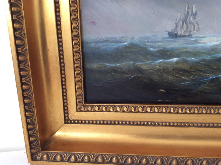 Mahogany Painting Marine style of Carl Frederik Sørensen For Sale