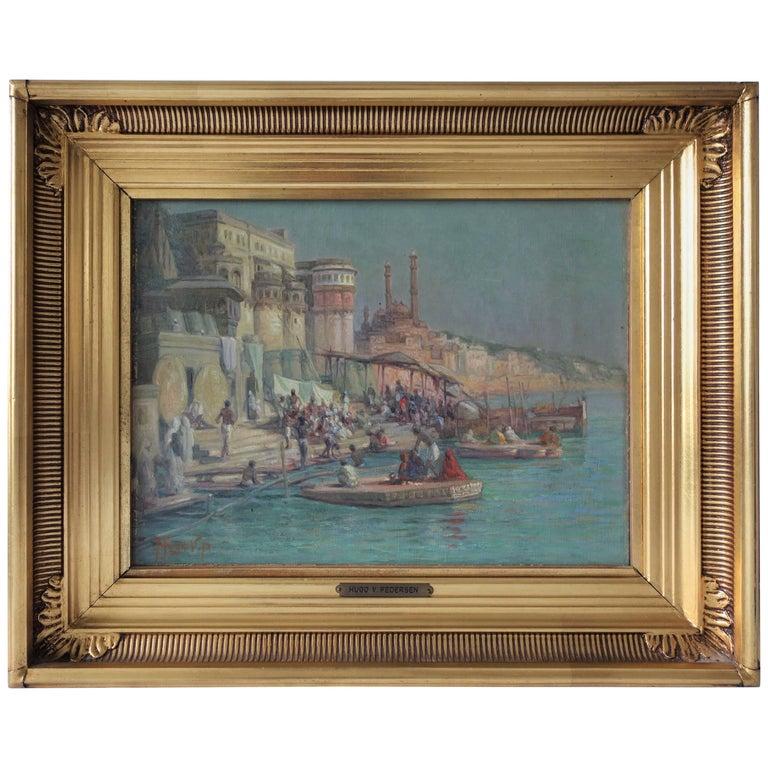 Oil Painting by Hugo V. Pedersen, Riverside Scene at Ganges, Early 20th Century