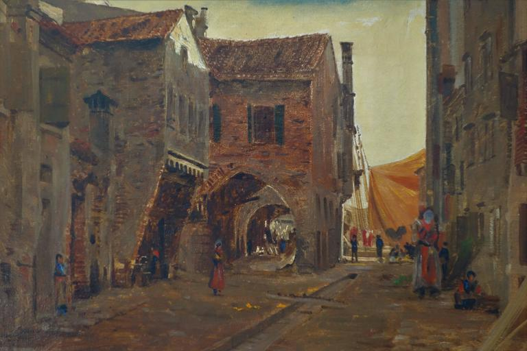 Painting by I.T. Hansen (1848 -1912) signed on the back: I. Th. Hansen, Gade i Chioggia ved Venedig 1889 (I. Th. Hansen, Street in Chioggia by Venice 1889). Dimensions: 41.5 cm x 31 cm. / 16.34 in x 12.21 in. Josef Theodor Hansen was a Danish