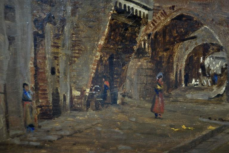 Other I.T. Hansen, Oil Painting, Street in Chioggia by Venice, Italy, 1889 For Sale