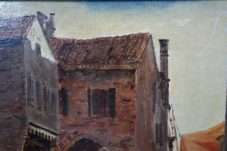 Danish I.T. Hansen, Oil Painting, Street in Chioggia by Venice, Italy, 1889 For Sale