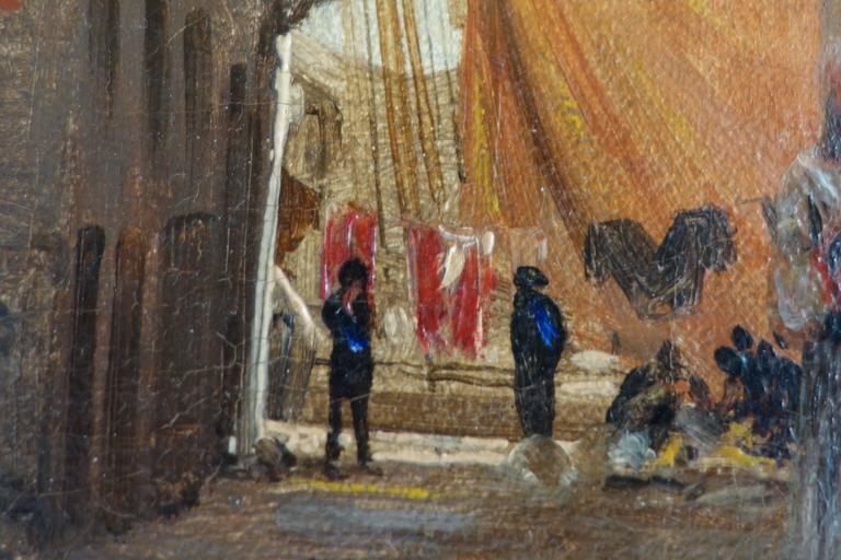 Painted I.T. Hansen, Oil Painting, Street in Chioggia by Venice, Italy, 1889 For Sale