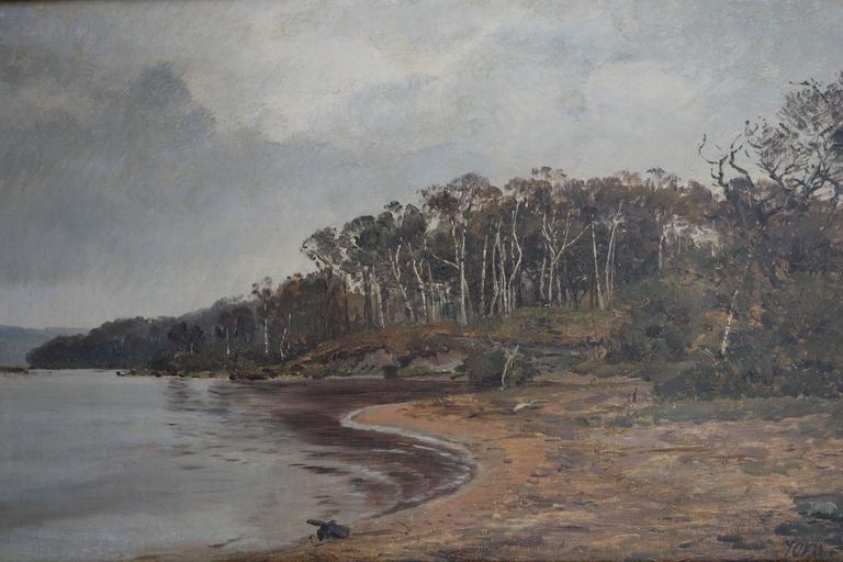 Oil painting by the Danish landscape painter Professor Janus La Cour (1837-1909). Signed: