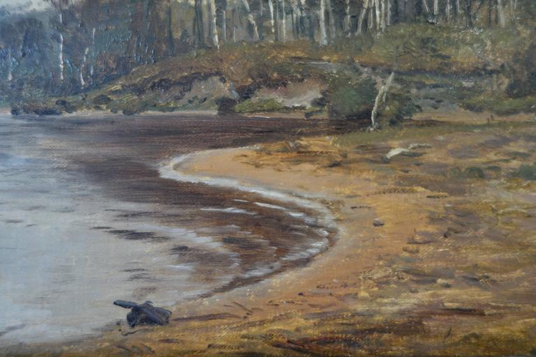 Danish Janus La Cour, Coastal Landscape in October by Ringholm, 1873 For Sale