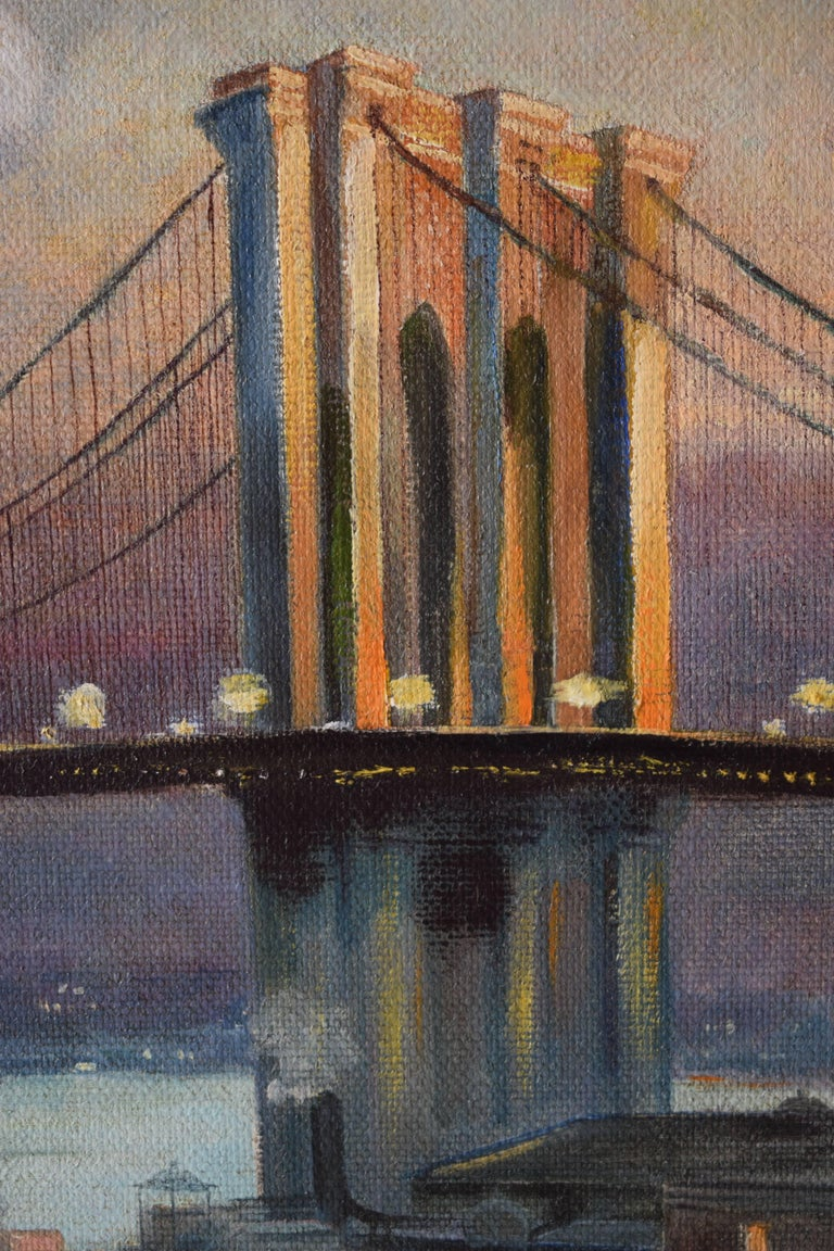 early 20th century large painting of brooklyn bridge new york 1913 for sale at 1stdibs. Black Bedroom Furniture Sets. Home Design Ideas