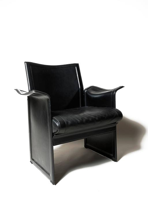 Lovely Set Of Four Leather Armchairs, In Black. These U0027Koriumu0027 Chairs Were Designed