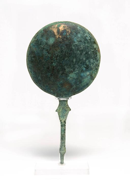 Etruscan Bronze Mirror Displaying Two Ancient Gods For