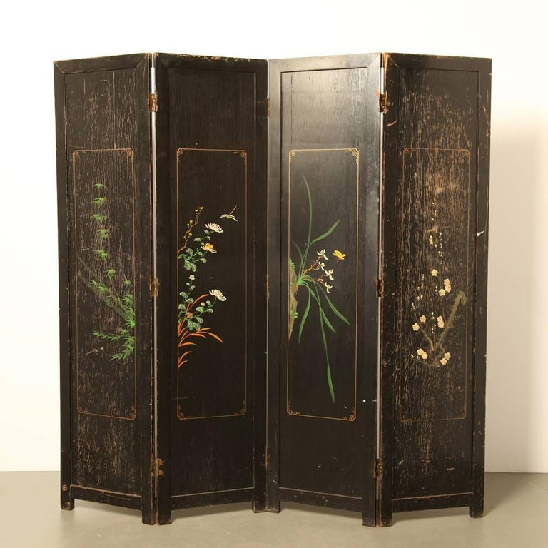 Mother Of Pearl Inlay Wooden Mini Folding Screen Asian: Large Chinese Room Divider Or Folding Screen For Sale At