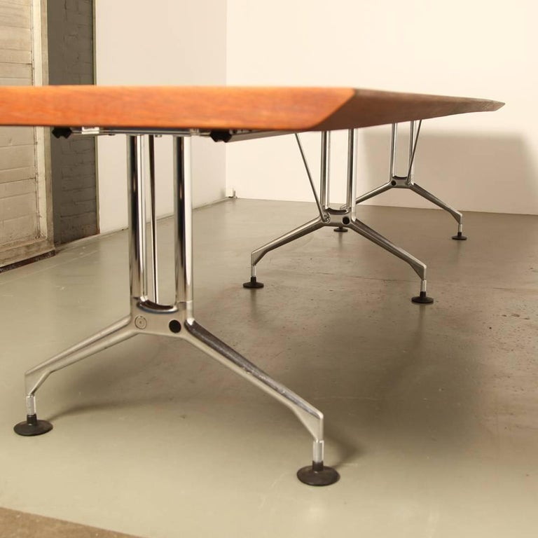 Conference Table With Iroko Wood Table Top And Vitra Legs