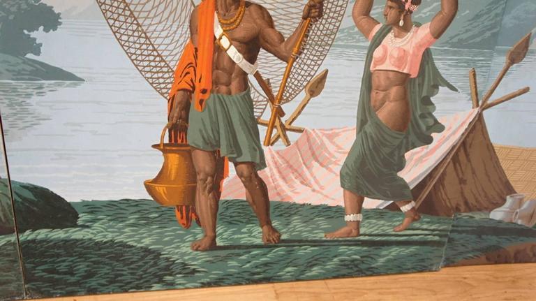 original four zuber panels papier peints fisherman on. Black Bedroom Furniture Sets. Home Design Ideas