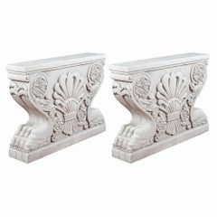 20th Century Neoclassical Italian White Marble Sculpture Table Pedestal