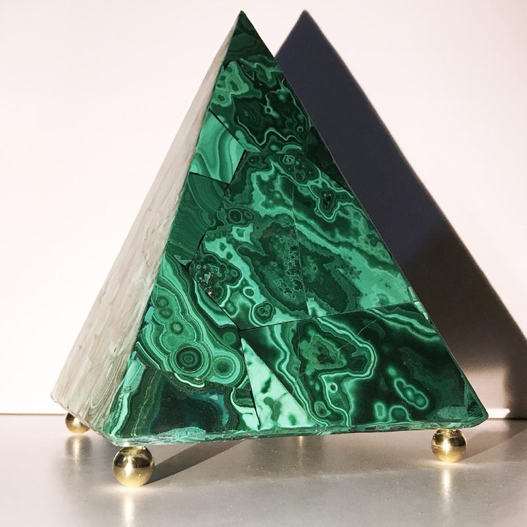 A very beautiful pyramid made with Malachite using the cosmatesque tecnique, made with very thin slab of the very precious Malachite, on a wood base.