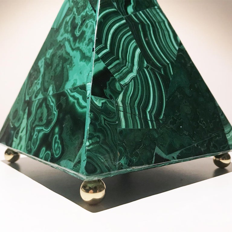 20th Italian Neoclassical Green Malachite and Gold Bronze Sculpture of Pyramid  For Sale 11