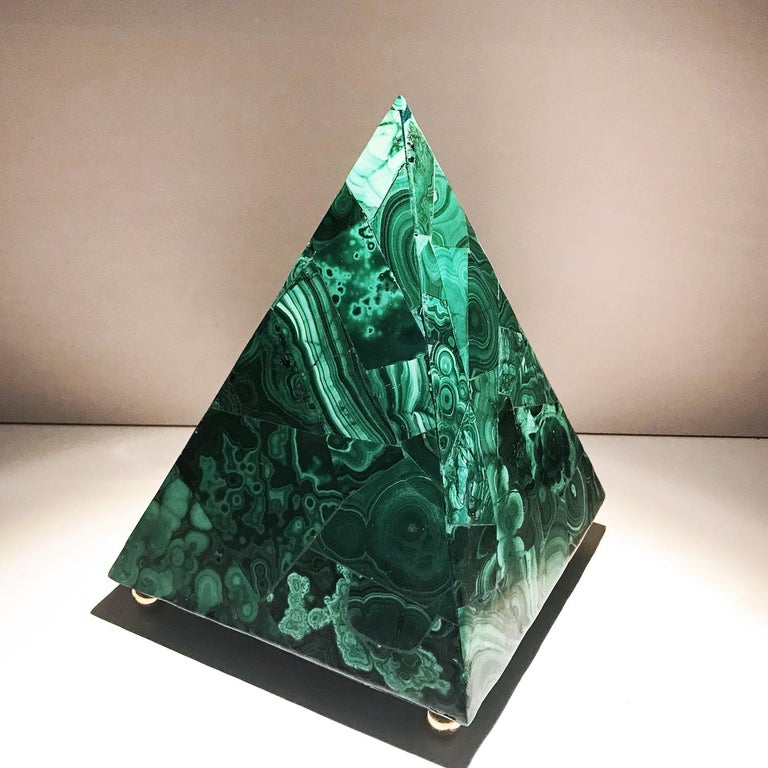 20th Italian Neoclassical Green Malachite and Gold Bronze Sculpture of Pyramid  For Sale 14